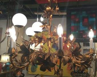 Ca. 1940s French Gilt Tole Chandelier with Lily Gilded Flowers with rope twist base