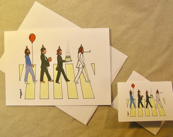 The Beatles Birthday Card. Abbey Road. Regular size card and mini-version. A Lunar Eclipse cartoon birthday card.