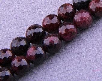 """8mm Garnet Beads , Faceted Garnet Beads Round , Natural Garnet Beads , Gemstone Beads , Genuine Garnet Beads , 15.5"""" Full Strand"""