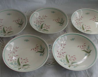 "Vintage Crown Ducal ""Random Harvest"" Fruit Bowls Set of Five"