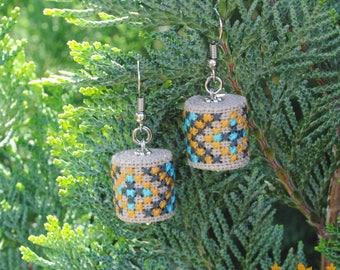 Ethnic earrings drop earrings Boho jewelry gift for girl Dangle earrings geometric jewelry fabric earrings Embroidered gift for girlfriend