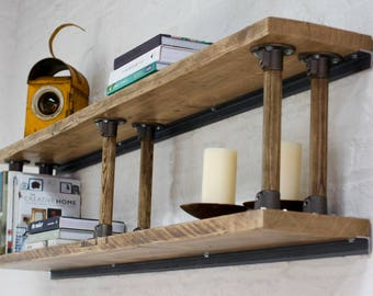 Letty Reclaimed Scaffolding Shelves with Reclaimed Vintage Ladder Rung Risers - Bespoke Industrial Furniture by www.urbangrain.co.uk