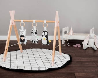 Modern Wooden Baby Gym soft Gym animals Toys  / Play Gym / Activity Gym / Wood baby mobile / Wood babay GYM