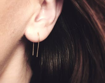 LIMITED EDITION Gold curved ear threader earrings, gold threaders, minimalist earrings , small gold earrings, threader earrings gold, 1 PAIR