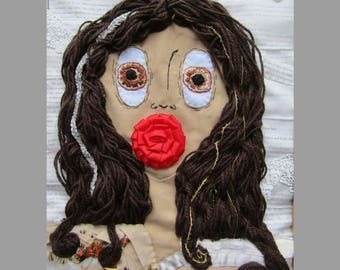 A Rose At Her Mouth Lady Pole Embroidery Picture Frame Norrell and Strange Book Gift Present
