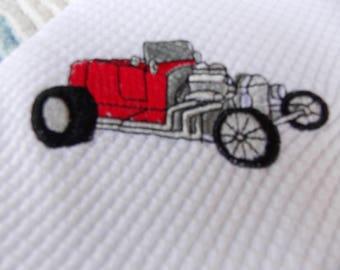 NEWBORN BABY RECEIVING Swaddling Blanket Vintage Red T-Bucket Hot Rod Street Rod Car Emboridered