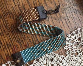 Teal and Brass beaded cuff bracelet