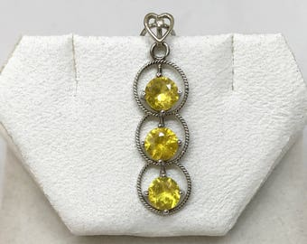 14kt Gold Pendant with 1.2 ct Yellow Sapphire and Diamond, Appraised 800 CAD
