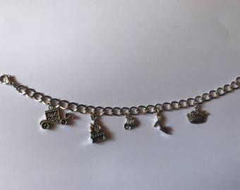 Cinderella Disney Themed Silver Charm Bracelet