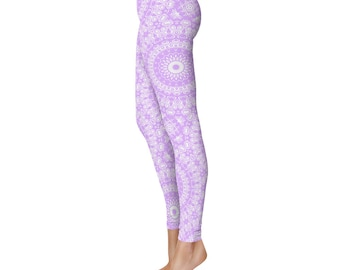 Mauve Yoga Leggings - Mauve Leggings, Mauve and White Printed Leggings, Mandala Art Tights, Stretch Pants