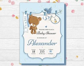 Baby Shower Invitation Boy - Baby Shower Teddy Bear - Baby Shower Invitation - Boy Baby Shower Invite
