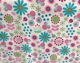 Disney pink & blue flower Minnie Mouse fabric, Disney fabric, Minnie fabric, kids fabric, flower fabric, cotton fabric