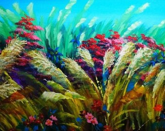Reed Painting- acrylic painting, abstract painting, flower painting