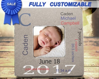 Personalized Baby Boy Gift New Baby Frame Gift Baby Stats Frame Custom Baby Picture Frame Birth Announcement Gift Frame Newborn Baby boy