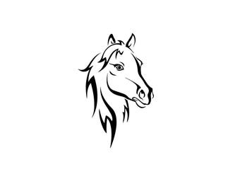 Pretty horse head download, unique equine svg, dxf, eps, ai, png, instant download, equestrian svg, equine horse download file, horse head