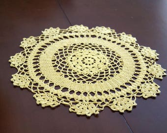 Vintage crocheted doily Round crochet doily Yellow Crochet Doily Vintage  Lace Doilies Table centerpiece Mid Century