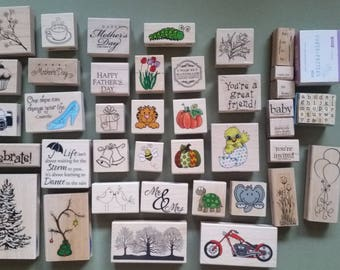 Wood mounted rubber stamps; lot of 40