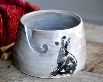 Large white knitting bowl yarn bowl with rabbit