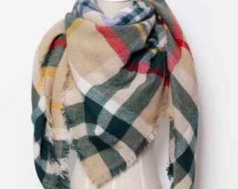 Green and Tan Plaid Blanket Scarf