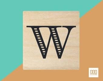 Modern Alphabet-W - 3cm Rubber Stamp (DODRS0177)