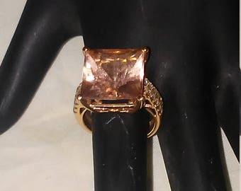 Morganite & Diamond 14k Rose Gold Ring Size 6.75 #L