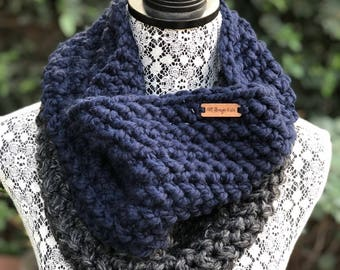 Cowl Infinity Scarf // Navy+Charcoal // Two Tone Handmade Crochet Chunky Knit - READY TO SHIP