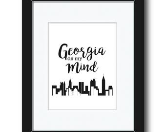 Georgia on my Mind Atlanta Skyline Print