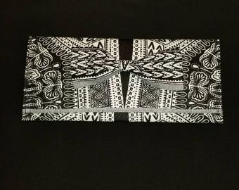 Black and White dashiki print clutch