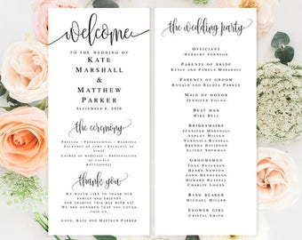 Wedding program template download Elegant wedding programs Editable template wedding Simple wedding programs DIY wedding program download