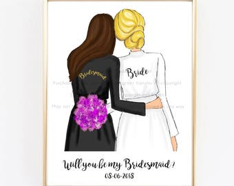Bridesmaid Proposal, Ask bridesmaids, gift for bride, gift for maid of honor, will you be my bridesmaid, bridesmaid cards, matron of honor