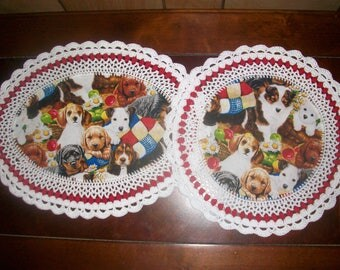 Set o 2 Handmade Crochet Doilies/Puppies/Dogs/Bassett/Westie/Sheltie/Golden Retriever