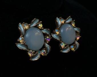 Mid Century Moonglow Enamel Rhinestone Powder Blue Clip Earrings