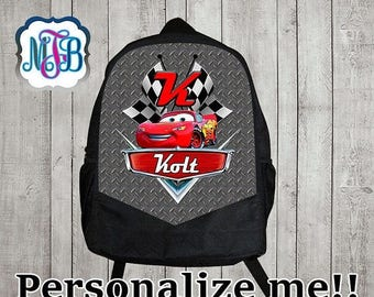 15% Off Personalized Lightning McQueen backpack/disney cars backpack/boys backpack/personalized boys backpack/ black backpack/B4