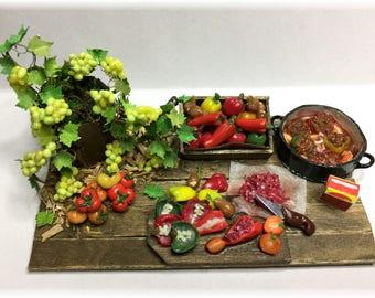 FIMOBABSI Mini Market, stuffed paprika, scene, handmade