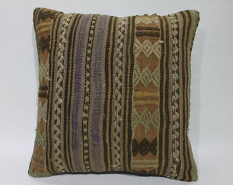 kilim rug pillow 16x16 throw pillow,sofa pillow,cushion cover,couch pillow 16x16 embroidered pillow,vintage kilim pillowcase   2694