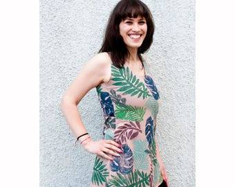 Beige tank top plants print women tee summer floral tshirt leaf tropical jungle top clothing