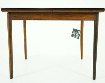 308-133 Danish Mid Century Modern Rosewood Square Dining Table Pullout Leaves