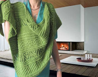 Accessories-women-Shawl-for-women-Gift-for-her-Knitting-shawl patterns-Girlfriend gift-Womens-gift-Green shawl-Hand Knit Shawl-Colour fall