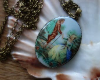 Old & New-Baroque-love, chain, Rococo, baroque, necklace, Art Nouveau, old cabochon, 60s, Vintagelook,