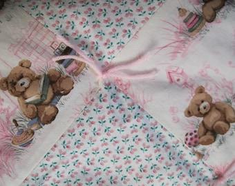 Handmade Tied Pink Cotton Teddy Bear Baby Quilt Blanket