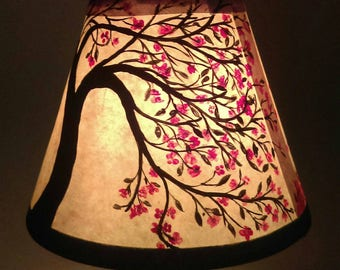 Cherry blossoms, cherry tree, lamp shade for small desk lamp, clip on over light bulb