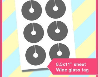 """Instant Download, Wine Glass Slipper Template, Wine Glass Tag Template, PSD, PNG and SVG. Dxf, Formats,  8.5x11"""" sheet,  Printable 224"""