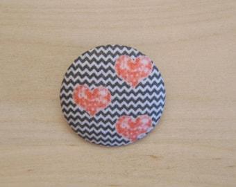 x 28mm fabric heart ref A38 1 button