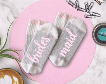 Bridesmaid Socks Bridal Party Gift Bridal Shower Photo Props, Will You Be My Maid of Honor Proposal Gift, Wool Crew Cut