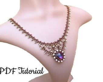 "Necklace Pattern, PDF, Beadweaving Tutorial,18 mm Rivoli Tutorial, Beading Tutorial, ""18 Sparkle"" Necklace"