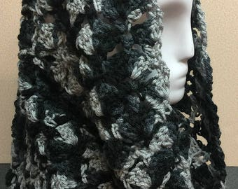 Black and Gray Hooded Cowl, Crochet Cowl Scarf, Hooded Cowl, Black and Gray Cowl, Crochet Cowl, Black Scarf, Handmade Cowl, Gifts for Her