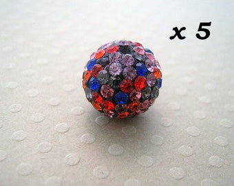 5 multicolored 12 mm - L5665 Strass beads