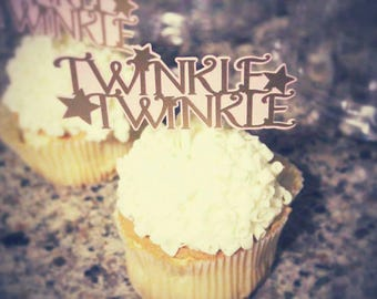 Twinkle twinkle little star  cupcake toppers  pink and gold cupcake topper  set of 12