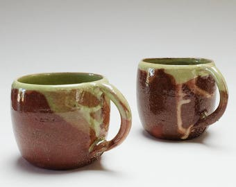 Handmade Coffee Mugs. Ceramic, pottery green slip, coffee cups, coffee mugs, coffee