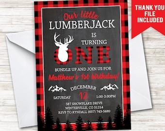 Lumberjack First Birthday Invite Invitation Red Pliad Winter Digital 5x7 Deer Buck Winter Chalkboard